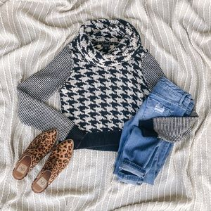 Lucky Brand Cowl Neck Houndstooth Sweater